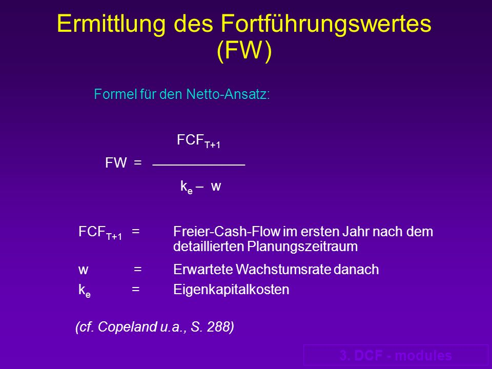 Ermittlung des Fortführungswertes (FW)