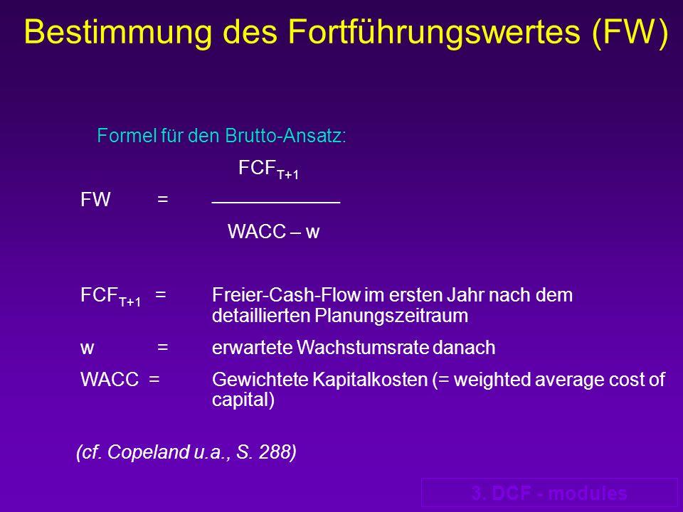 Bestimmung des Fortführungswertes (FW)