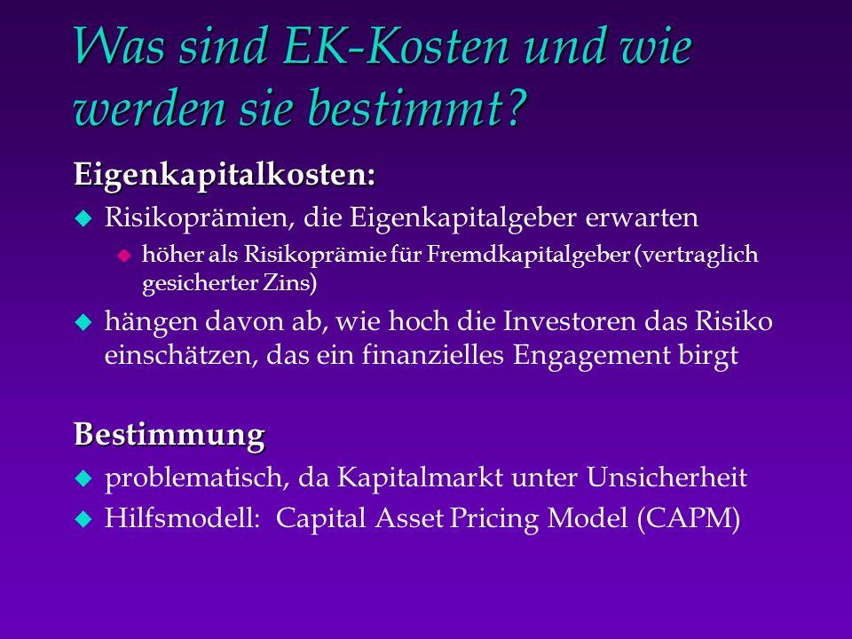 Was sind EK-Kosten und wie werden sie bestimmt