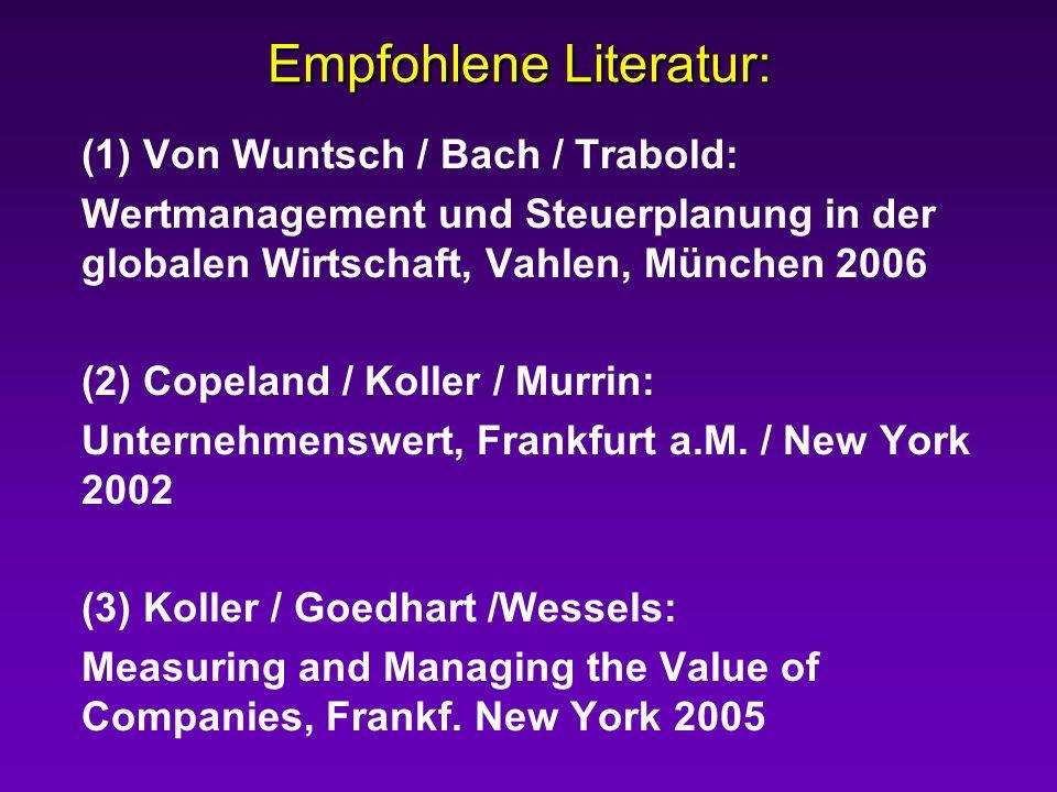Empfohlene Literatur: