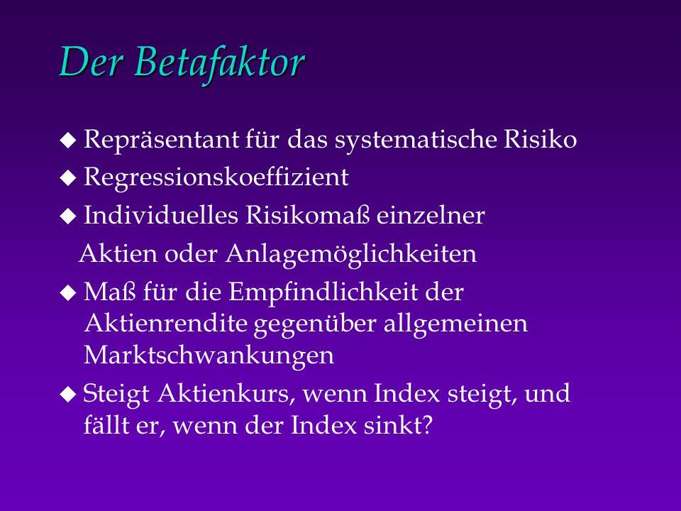 Der Betafaktor Repräsentant für das systematische Risiko