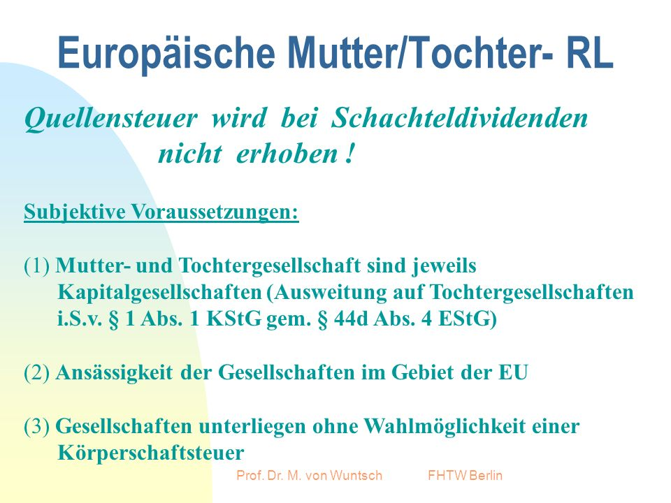 Europäische Mutter/Tochter- RL