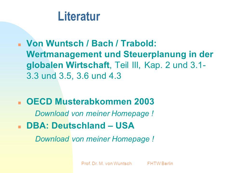 Prof. Dr. M. von Wuntsch FHTW Berlin