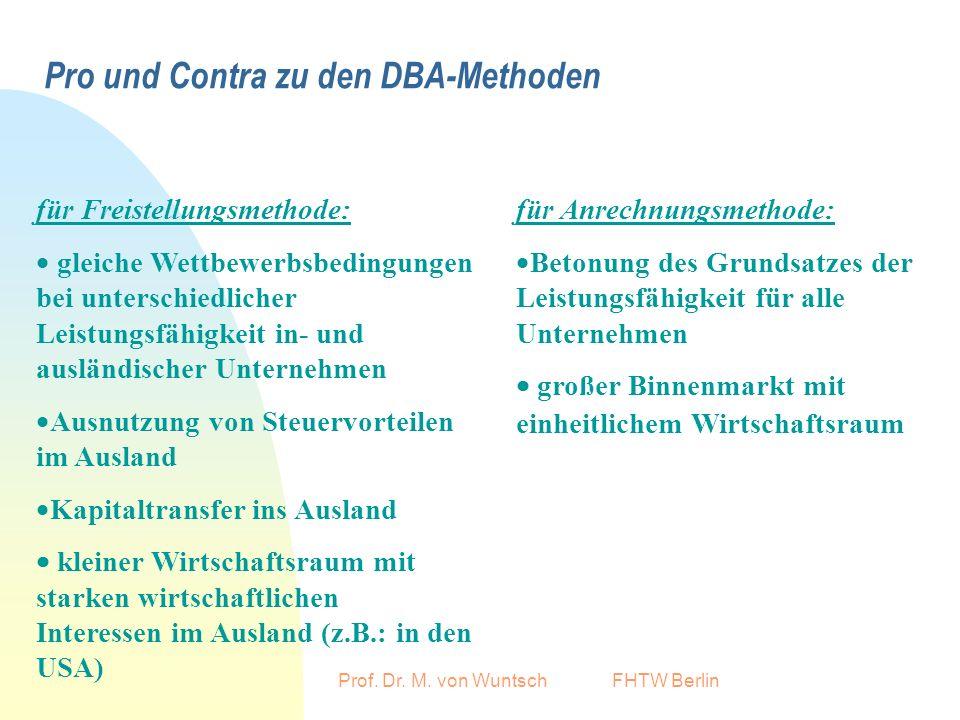 Pro und Contra zu den DBA-Methoden
