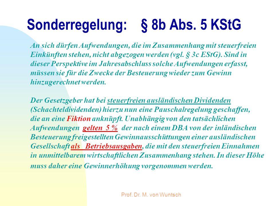 Sonderregelung: § 8b Abs. 5 KStG