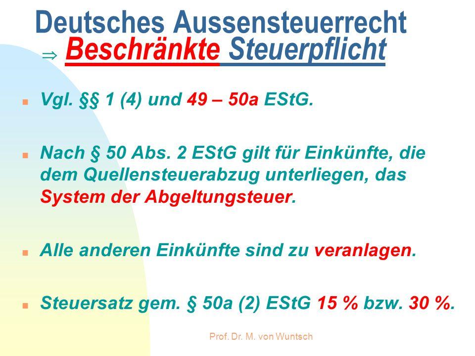 Deutsches Aussensteuerrecht  Beschränkte Steuerpflicht