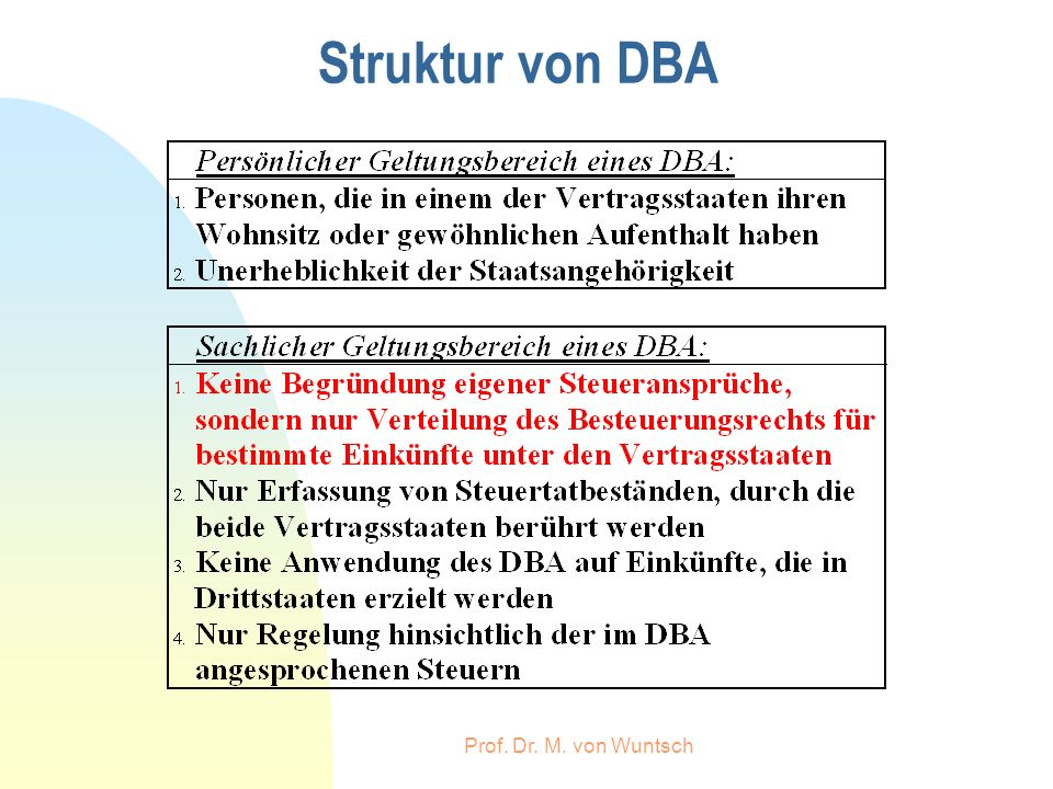Struktur von DBA Prof. Dr. M. von Wuntsch