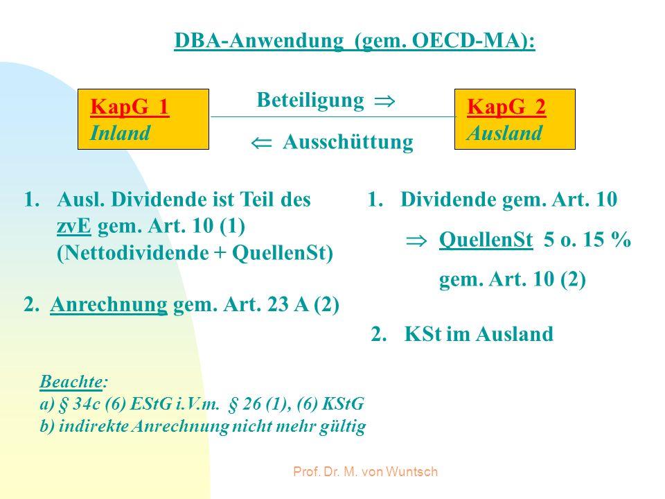 DBA-Anwendung (gem. OECD-MA):