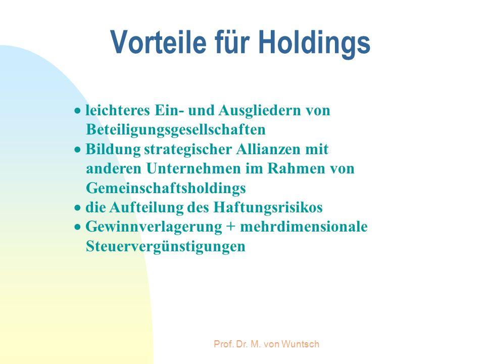 Vorteile für Holdings  leichteres Ein- und Ausgliedern von