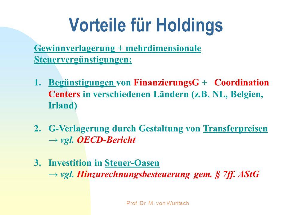 Vorteile für Holdings Gewinnverlagerung + mehrdimensionale