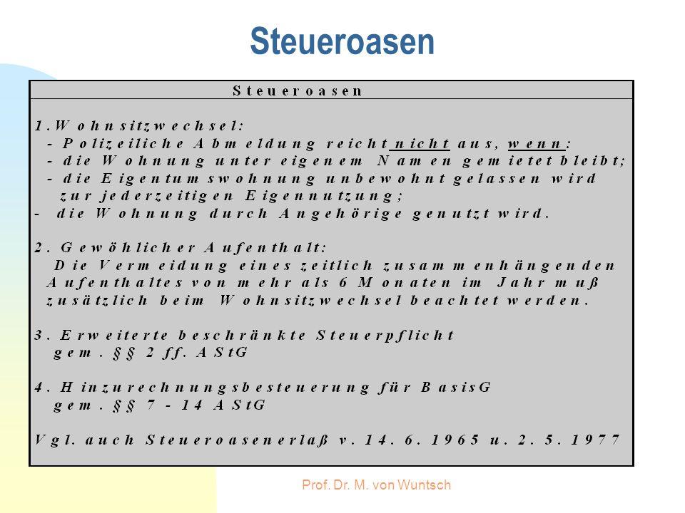 Steueroasen Prof. Dr. M. von Wuntsch