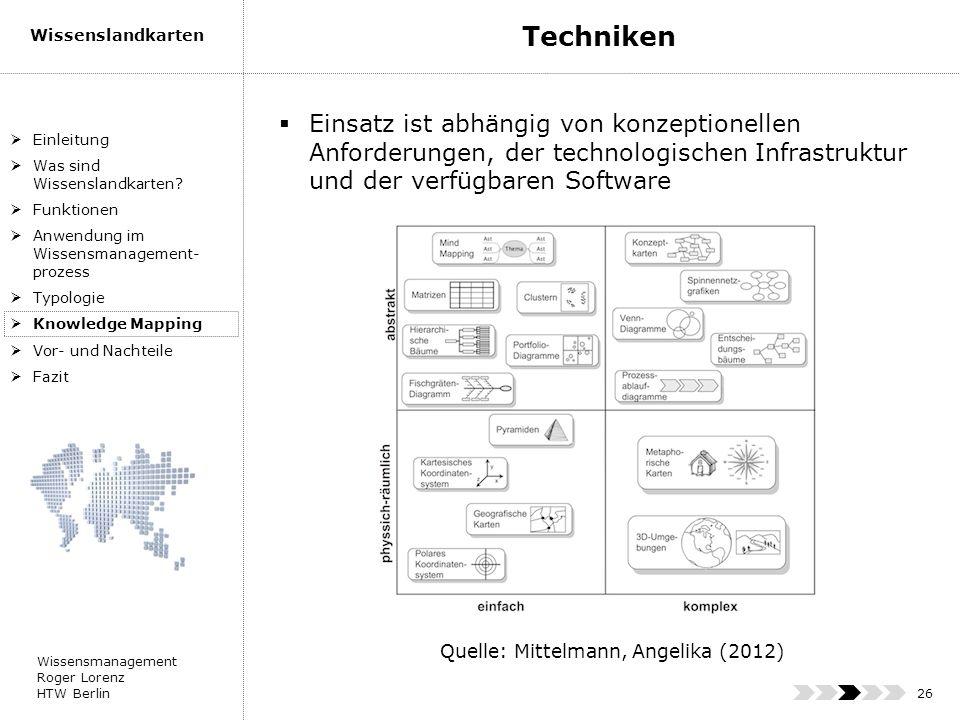 Techniken Einsatz ist abhängig von konzeptionellen Anforderungen, der technologischen Infrastruktur und der verfügbaren Software.