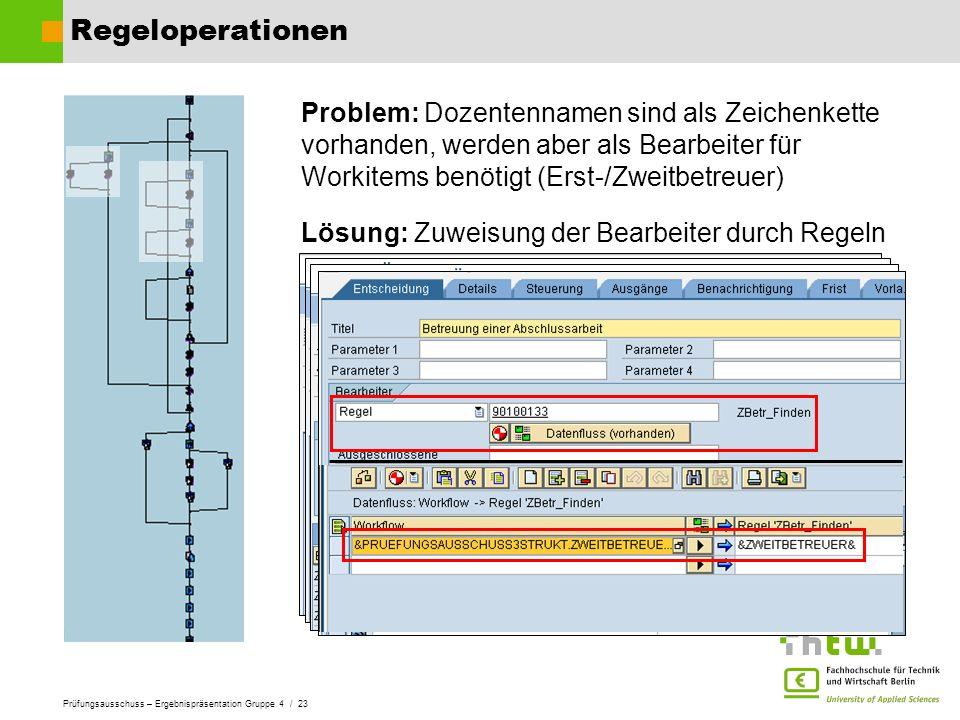 Regeloperationen Problem: Dozentennamen sind als Zeichenkette vorhanden, werden aber als Bearbeiter für Workitems benötigt (Erst-/Zweitbetreuer)