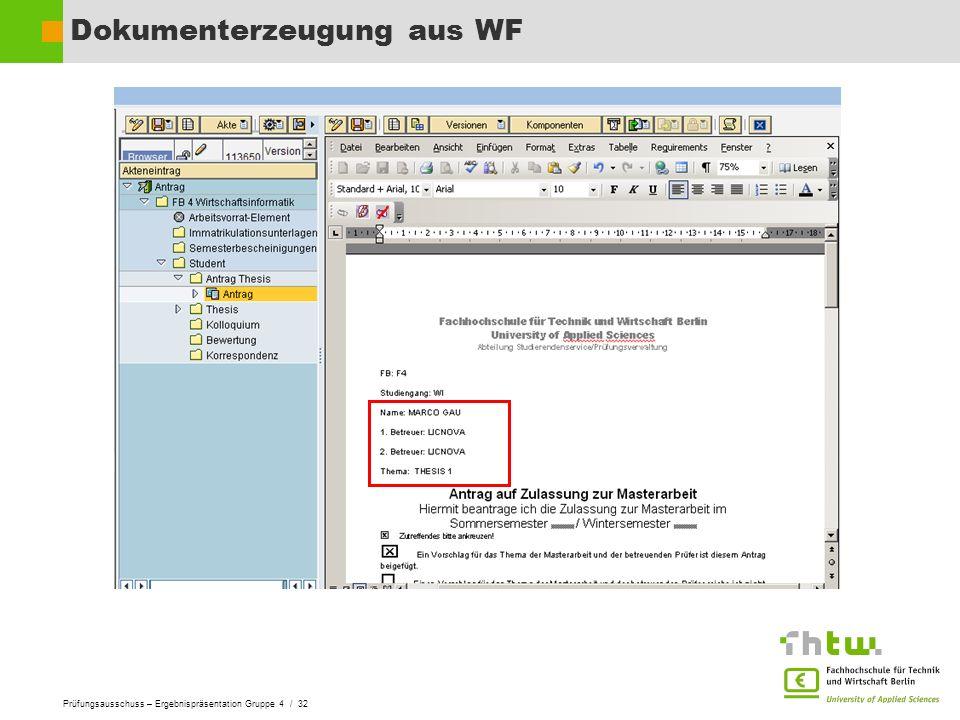 Dokumenterzeugung aus WF