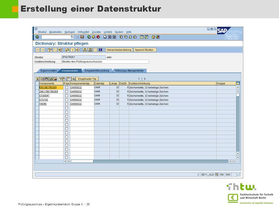 Erstellung einer Datenstruktur