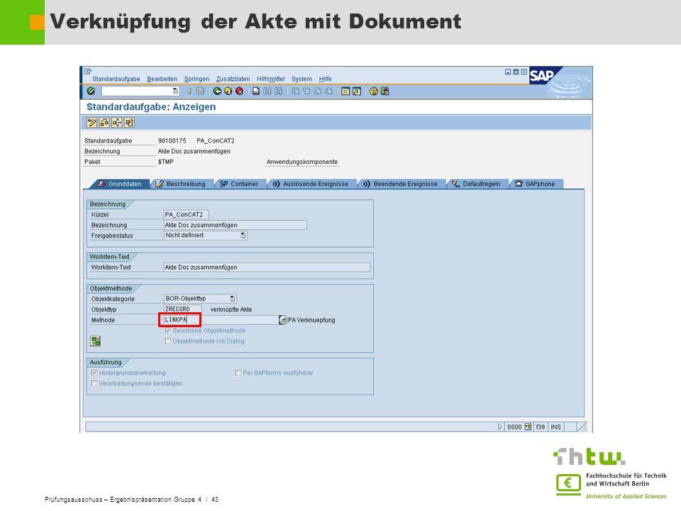Verknüpfung der Akte mit Dokument