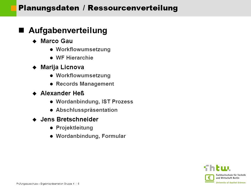 Planungsdaten / Ressourcenverteilung