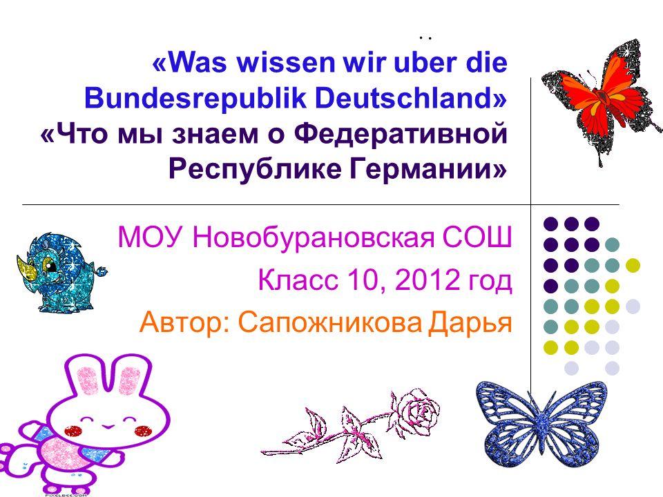 МОУ Новобурановская СОШ Класс 10, 2012 год Автор: Сапожникова Дарья