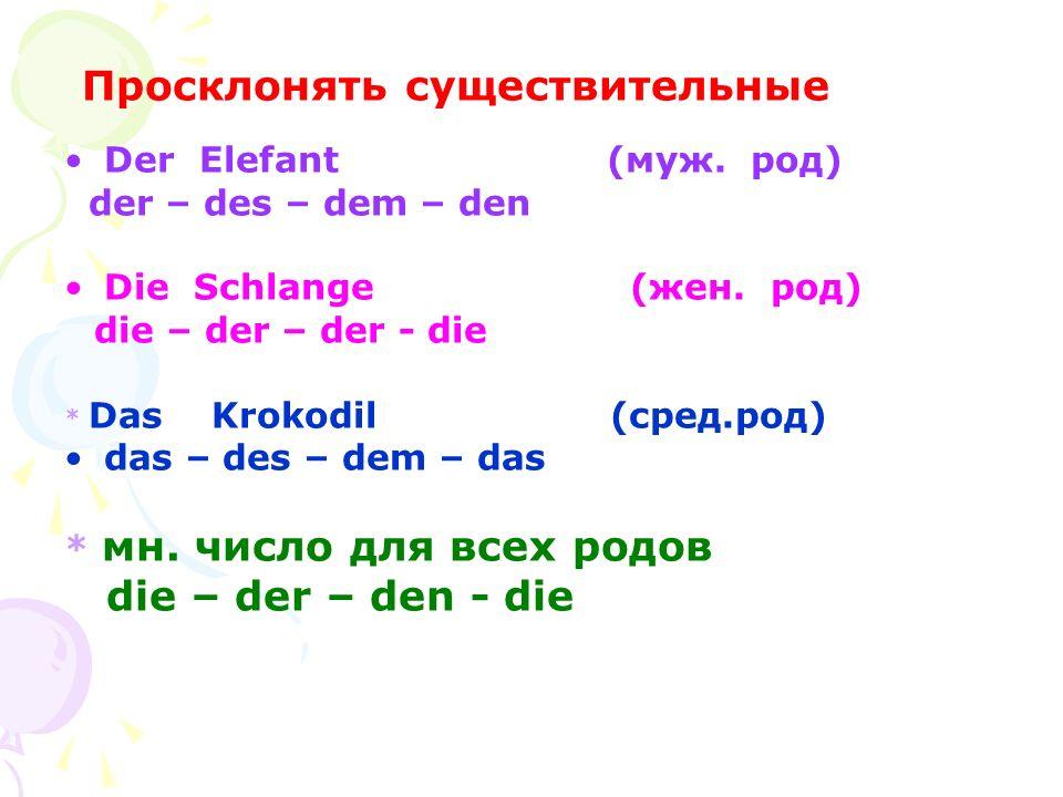 die – der – den - die Der Elefant (муж. pод) der – des – dem – den