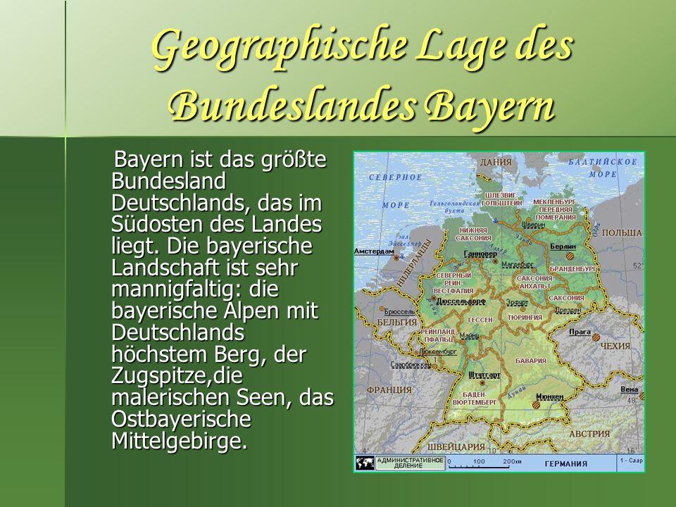 Geographische Lage des Bundeslandes Bayern