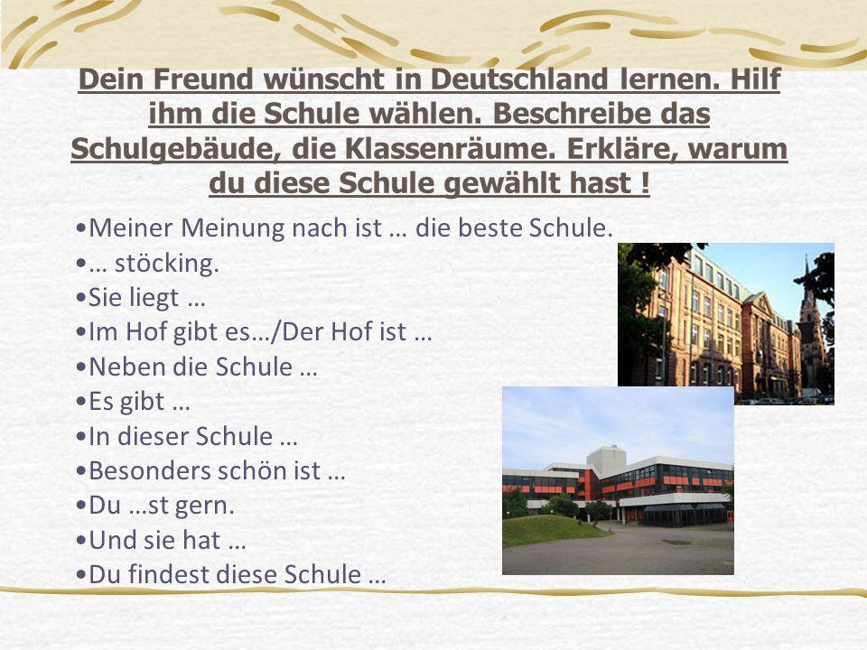 Dein Freund wünscht in Deutschland lernen. Hilf ihm die Schule wählen