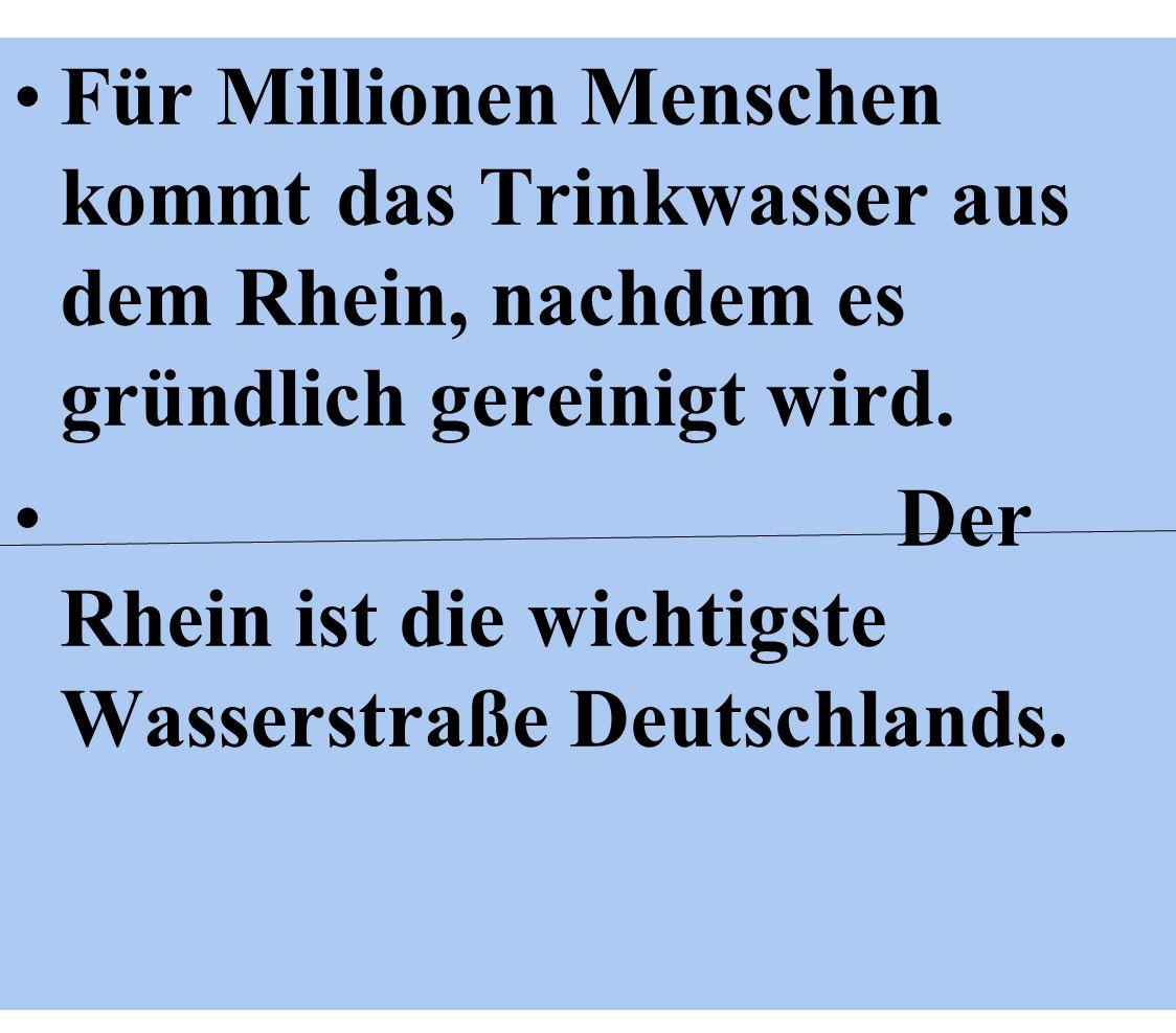 Für Millionen Menschen kommt das Trinkwasser aus dem Rhein, nachdem es gründlich gereinigt wird.