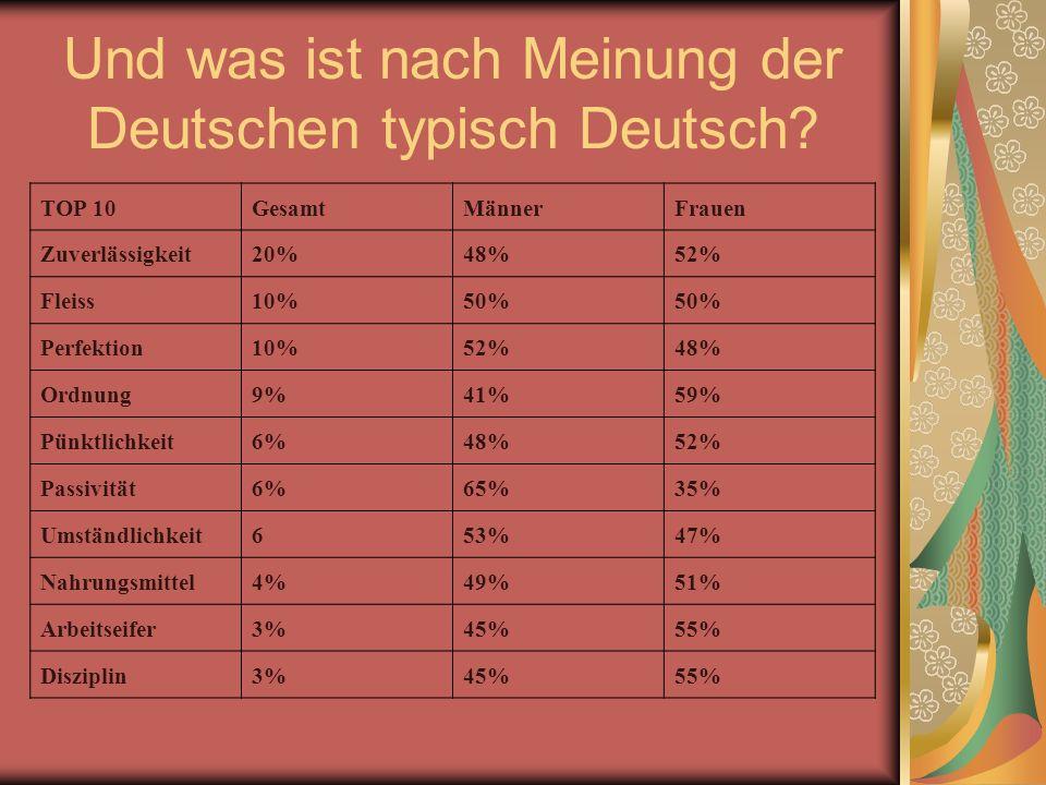 Und was ist nach Meinung der Deutschen typisch Deutsch