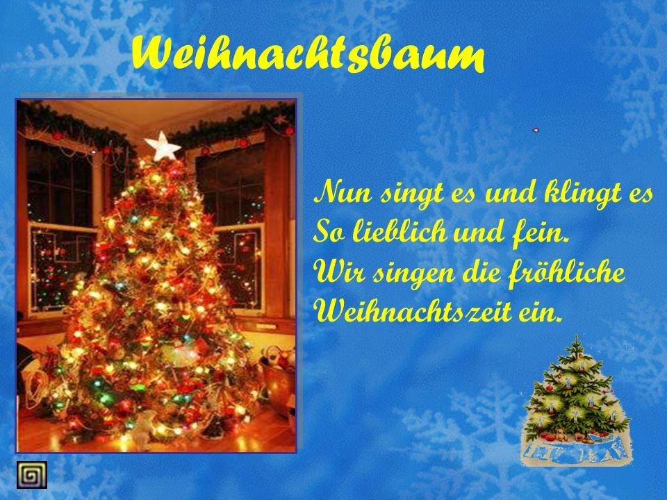 Weihnachtsbaum Nun singt es und klingt es So lieblich und fein.