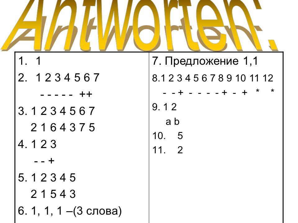 Antworten:1. 1 2 3 4 5 6 7. - - - - - ++ 3. 1 2 3 4 5 6 7. 2 1 6 4 3 7 5. 4. 1 2 3. - - + 5. 1 2 3 4 5.