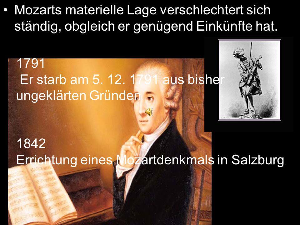 Mozarts materielle Lage verschlechtert sich ständig, obgleich er genügend Einkünfte hat.