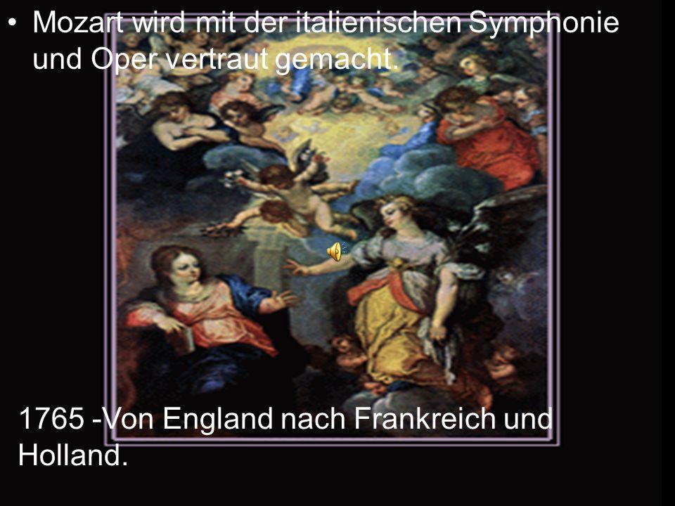 Mozart wird mit der italienischen Symphonie und Oper vertraut gemacht.