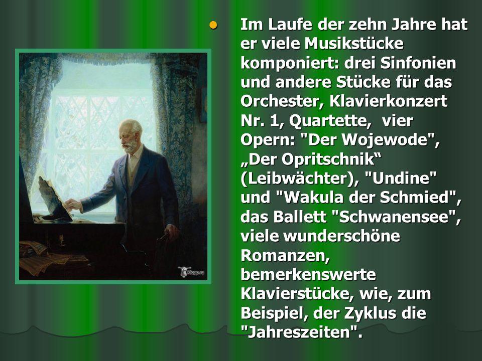 Im Laufe der zehn Jahre hat er viele Musikstücke komponiert: drei Sinfonien und andere Stücke für das Orchester, Klavierkonzert Nr.