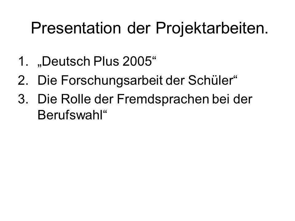 Presentation der Projektarbeiten.