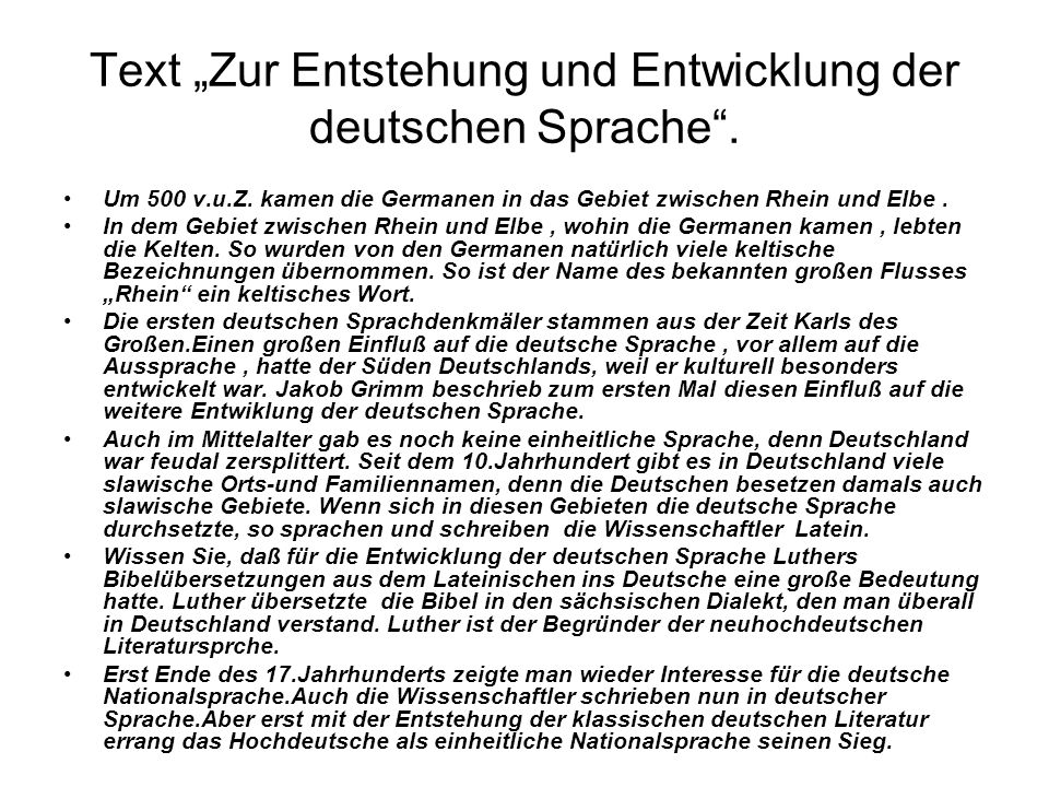"""Text """"Zur Entstehung und Entwicklung der deutschen Sprache ."""