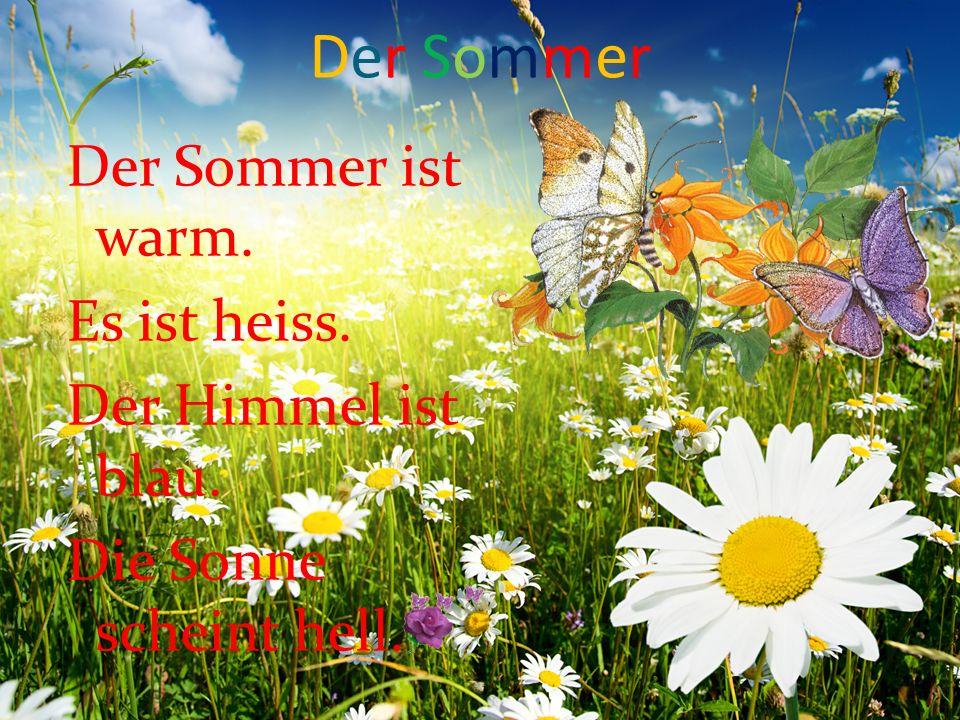 Der Sommer Der Sommer ist warm. Es ist heiss. Der Himmel ist blau. Die Sonne scheint hell.