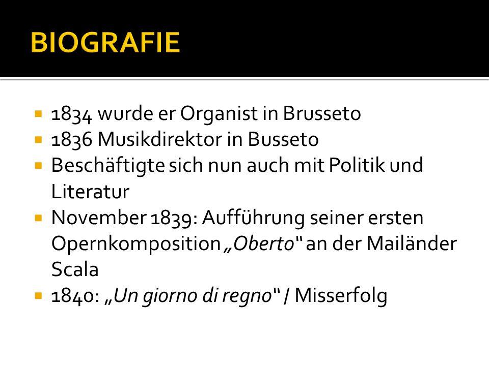BIOGRAFIE 1834 wurde er Organist in Brusseto