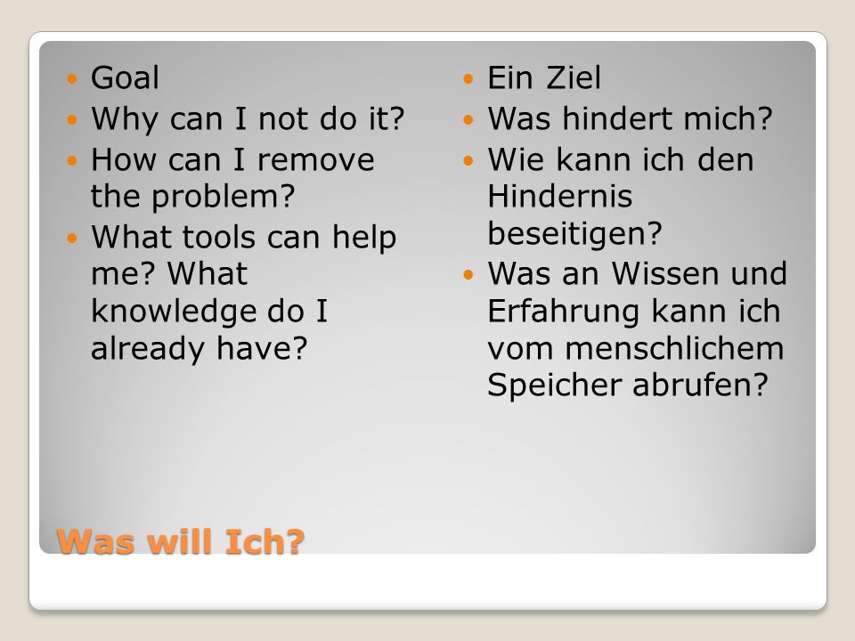 Was will Ich Goal Why can I not do it How can I remove the problem