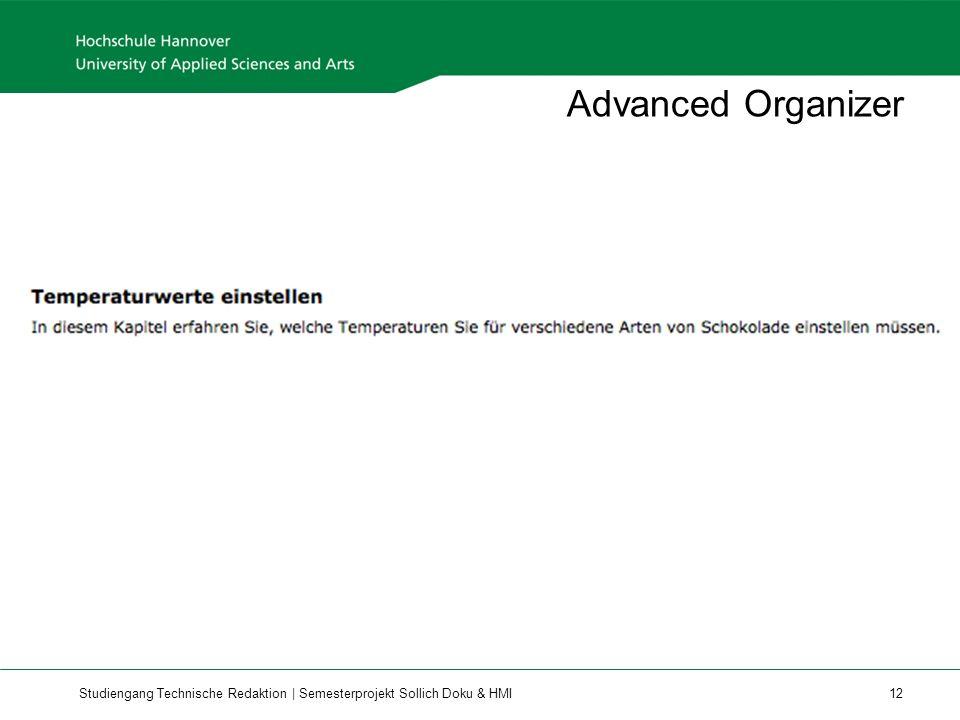 Advanced Organizer Geht auch einfach so, vor allem, wenn da nicht direkt Schritte drauf folgen