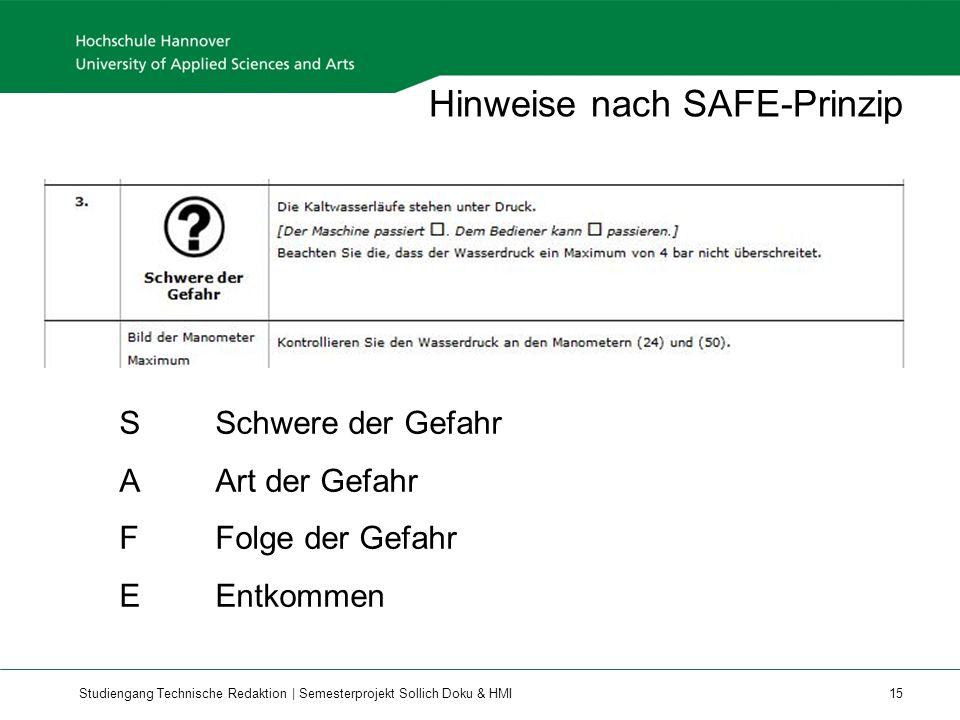 Hinweise nach SAFE-Prinzip