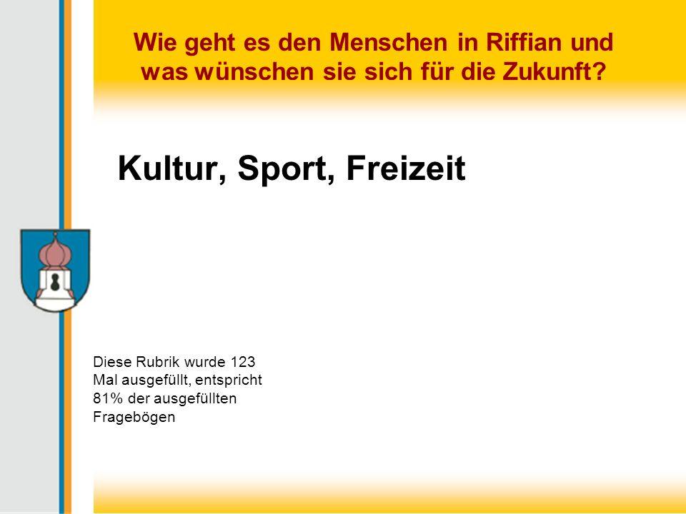 Kultur, Sport, Freizeit Diese Rubrik wurde 123 Mal ausgefüllt, entspricht 81% der ausgefüllten Fragebögen.