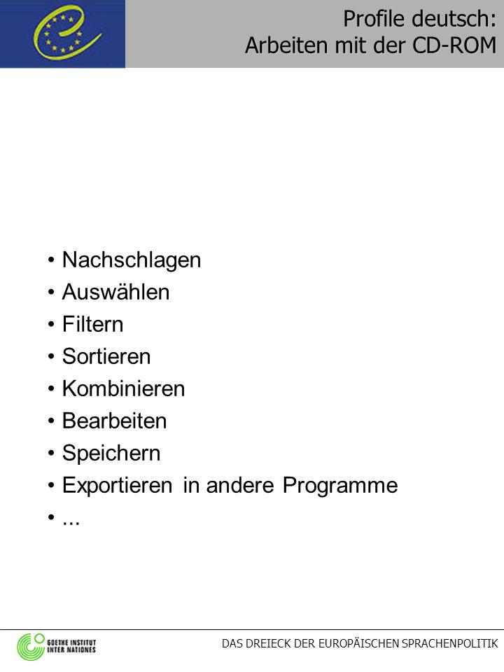 Profile deutsch: Arbeiten mit der CD-ROM