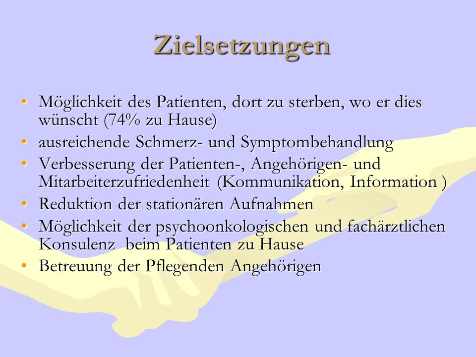 Zielsetzungen Möglichkeit des Patienten, dort zu sterben, wo er dies wünscht (74% zu Hause) ausreichende Schmerz- und Symptombehandlung.