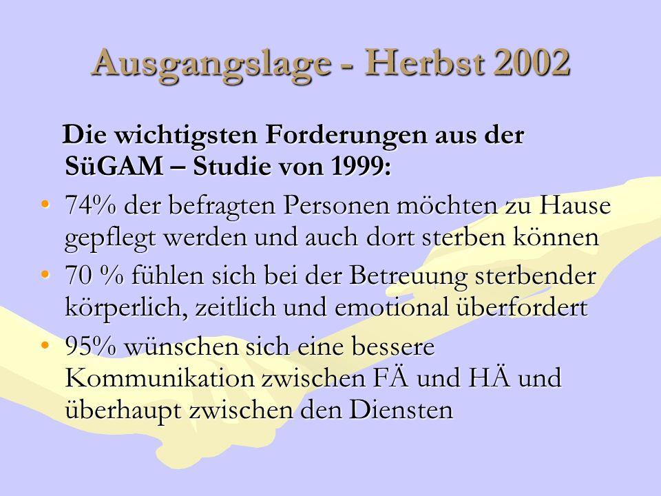 Ausgangslage - Herbst 2002 Die wichtigsten Forderungen aus der SüGAM – Studie von 1999: