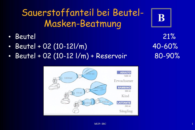 Sauerstoffanteil bei Beutel-Masken-Beatmung