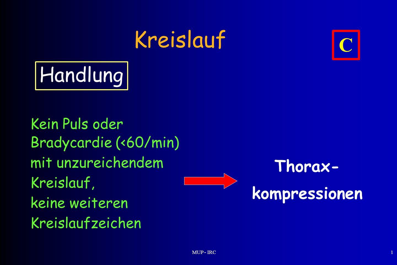 Kreislauf C Handlung Thorax- kompressionen Kein Puls oder