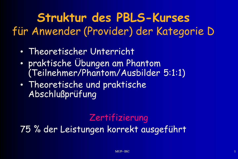 Struktur des PBLS-Kurses für Anwender (Provider) der Kategorie D