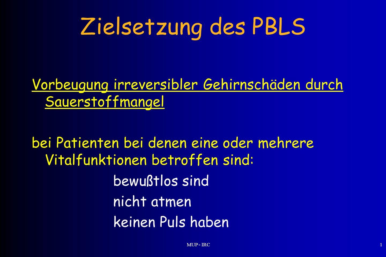 Zielsetzung des PBLS Vorbeugung irreversibler Gehirnschäden durch Sauerstoffmangel.