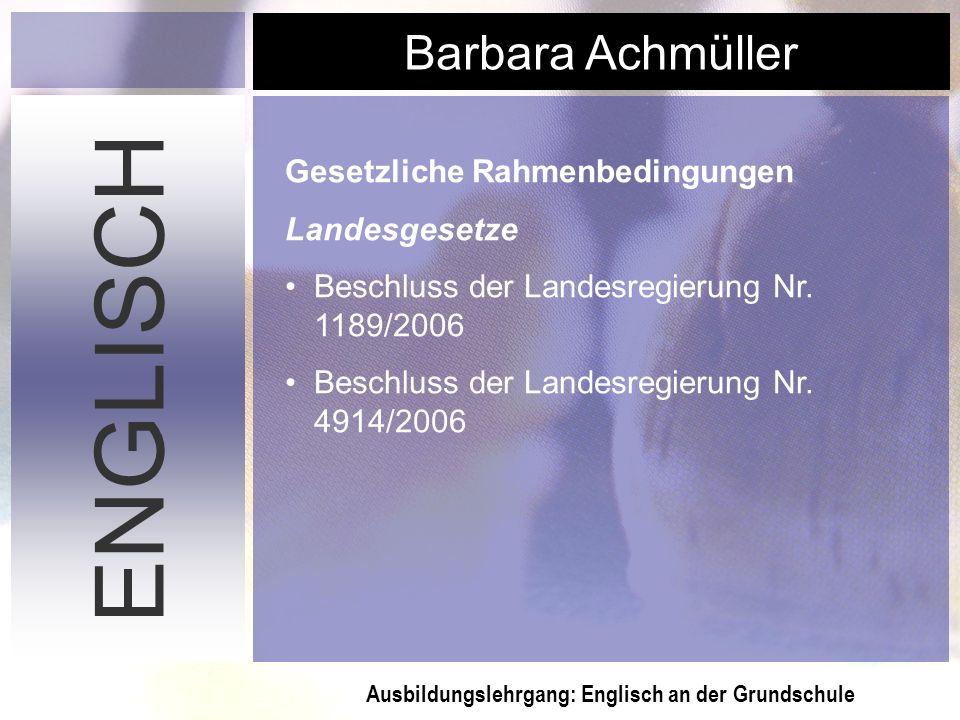 ENGLISCH Gesetzliche Rahmenbedingungen Landesgesetze
