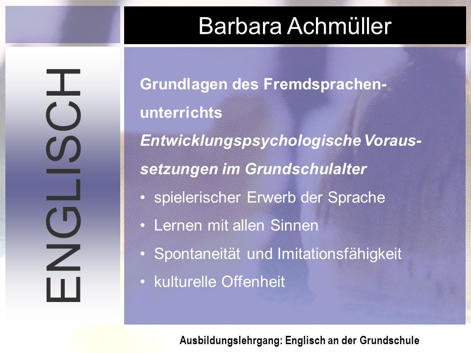 ENGLISCH Grundlagen des Fremdsprachen- unterrichts
