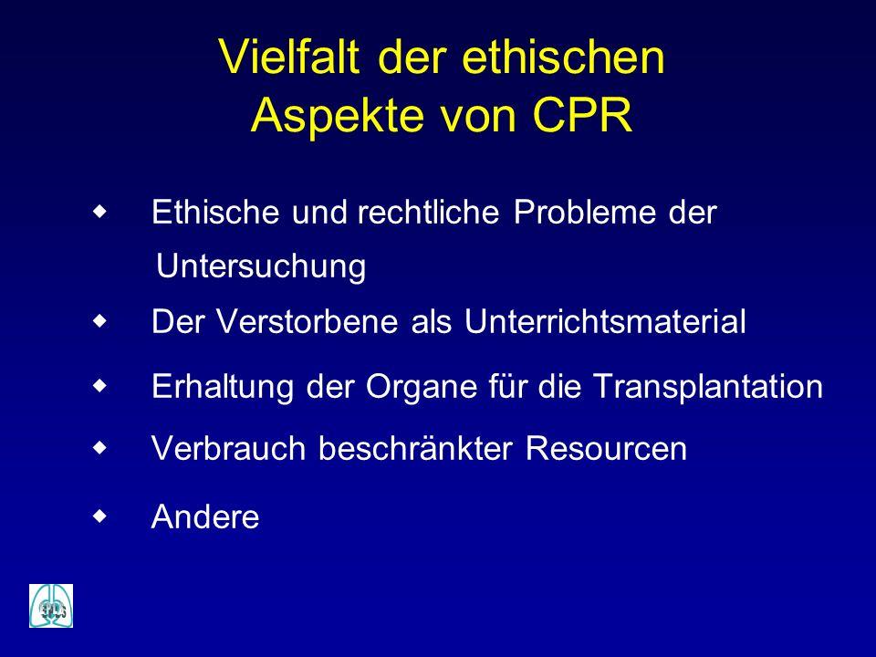 Vielfalt der ethischen Aspekte von CPR